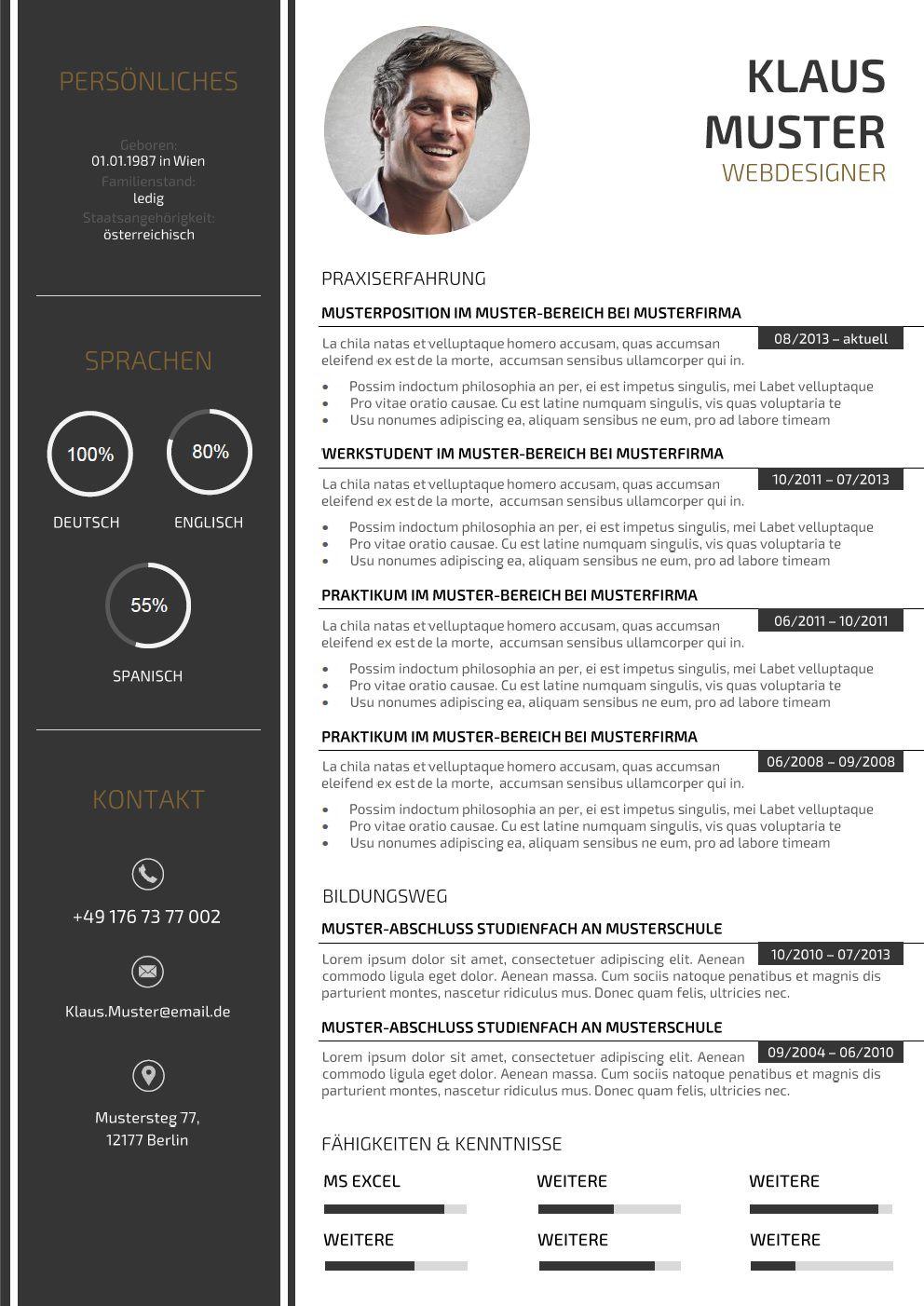 Muster Lebenslauf Word: Muster Lebenslauf Design
